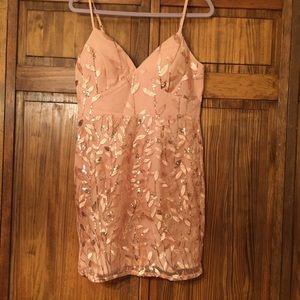 Rose Gold Sequin Mini Dress!